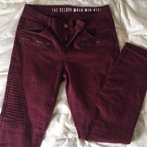 CottonOn burgundy Mid Rise Moto jeans